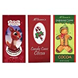 Candy Cane, Gingerbread and Rudolph The Red Nosed Reindeer Hot Chocolate Cocoa Set of SIX Single Serve Packets – Best Kosher Certified Gourmet Gift or Stocking Stuffer