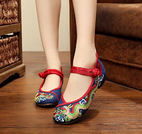 Lazutom Vintage Chinese Style Women Embroidered Shoes Flat Ballet Cotton Loafer Blue 9ffHAx