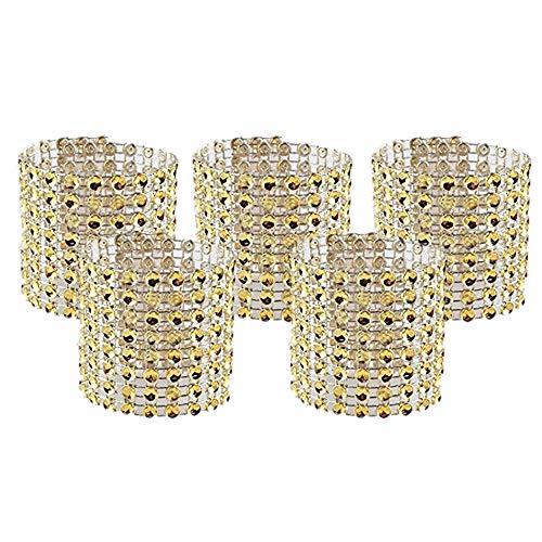 (Amajoy Set of 100 Napkin Rings Rhinestone Napkin Rings Adornment Wedding Party Banquet Dinner Decor Wedding Favor (Gold))