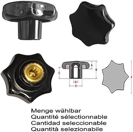 Menge:1 ST/ÜCK Messinggewinde Sterngriffmutter M4 /Ø 20 mm DIN6336 K MENGE w/ählbar
