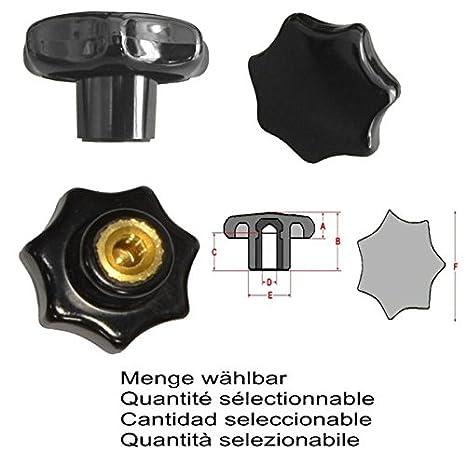 Sterngriffmutter Menge:6 ST/ÜCK Messinggewinde MENGE w/ählbar M4 /Ø 20 mm DIN6336 K