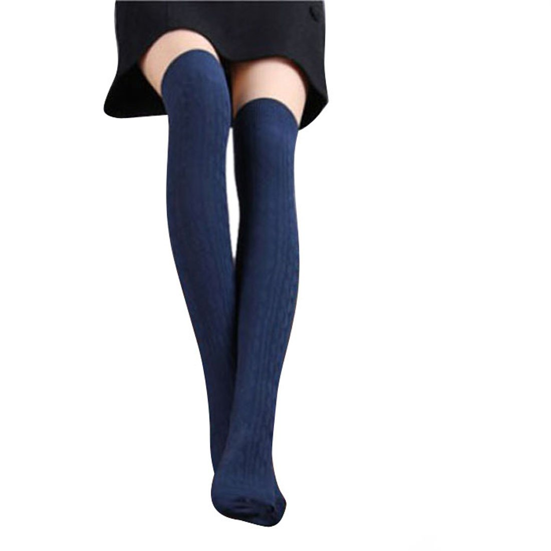 Women Knit Knee Boot Cotton Thigh High Socks Lot Leg Warmer (Navy)