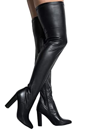 938dc2dea8801 AZALEA WANG Faux Leather Latex Block Heel Sexy Thigh High Boots