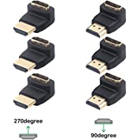 VCE 3 Combos HDMI 90 Degree and 270 Degree Male to Female Adapter 3D&4K Supported