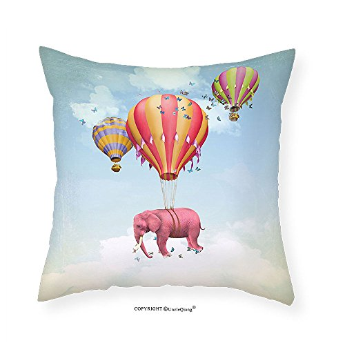 VROSELV Custom Cotton Linen Pillowcase Elephants Decor Pink Elephant In The Sky With Balloons Illustration Daydream Fairytale Travel Bedroom Living Room Dorm Decor (Ladybug Daydream)