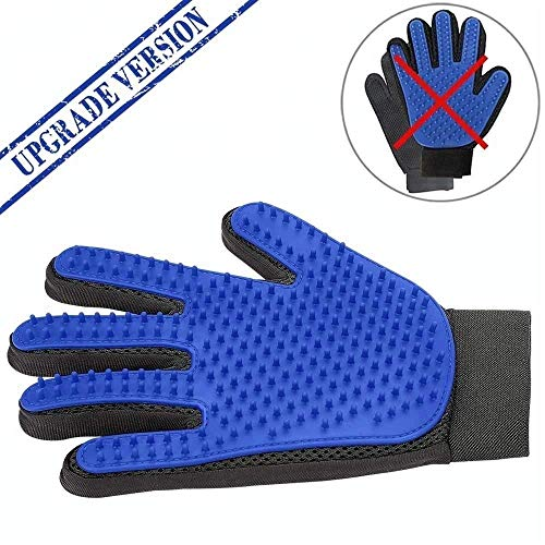 UPGRADED VERSION of Blue Pet Grooming Gloves – Efficient Pet Hair Remover Mitts that are Adjustable – Gentle Deshedding Massage Tool – Bathing Brush for Dogs Cats with Long & Short Fur – One Pair