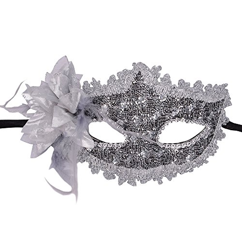 Rehot Masquerade Party Masks Womens Masks Venetian Ball Prom Mardi Gras Halloween Masks (Silver (Mardi Gras Mask Costume Ideas)