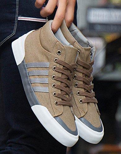 Honeystore High-Top-Sneaker Unisex Erwachsene Slimmer Stadil Duo Canvas High Schuhe gewachstes Leinen Freizeitschuhe Turnschuhe Braun