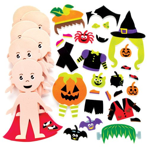 Baker Ross Halloween Dressing-up Mix & Match Magnet Kits for Kids Perfect for Halloween Children's Arts, Crafts and Decorating for Boys and Girls (Pack of 6) ()