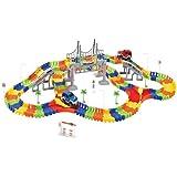 Dotopon Magic Multi Tracks Flexible Car Circuit 192 Pieces Modular, Magic and Games Circuit Car Toy with Bridge Crossroad