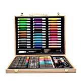 Zywtrade 150 Pieces Wooden Box Painting Gift Watercolor Pen Crayon Oil Pastel Paintbrush Set Children Art Painting Tools