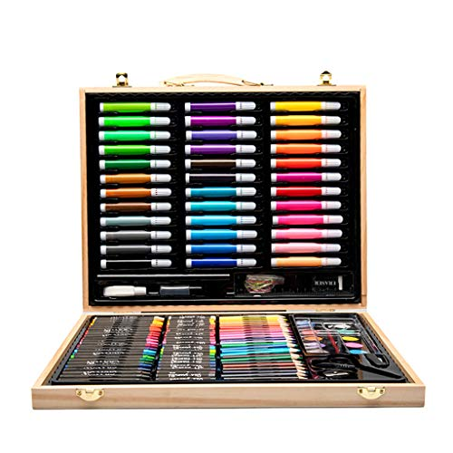 Zywtrade 150 Pieces Wooden Box Painting Gift Watercolor Pen Crayon Oil Pastel Paintbrush Set Children Art Painting Tools by Zywtrade (Image #7)