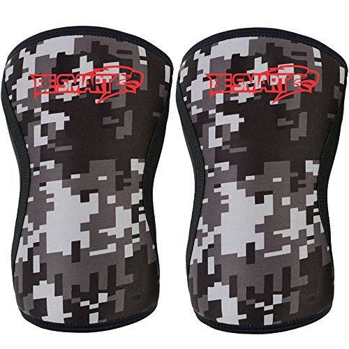 Knee Sleeves Support Crossfit Power Weight Lifting Squats Patella Brace (Gray Sublimated, X-Large)