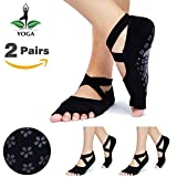 Jenbou Yoga Socks Grip Non Slip for Women Toeless Sticky Anti-Skid Half Toe, Pilates, Ballet, Barre, Combed Cotton (2 Pairs)