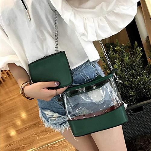 Pack Reached taglia Catena Borsa colore trasparente Jelly taglia tracolla verde Fashion tracolla Verde Eeayyygch a a Ladies unica Color qH5I4w4