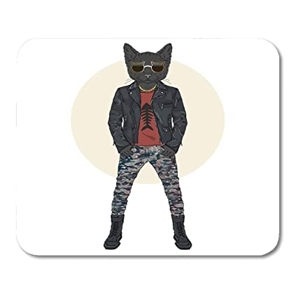 Boszina Mouse Pads Hipster Leather Cat Dressed Up In Punk Style Furry  Animals Funny Accessories Mouse