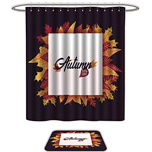 Set of 2 shower Shower Curtain and Mat SetAutumn Background with leaves for shopping sale or promo poster and frame leaflet or web banner Vector illustration template 18. Waterproof Fabric Bathroom -