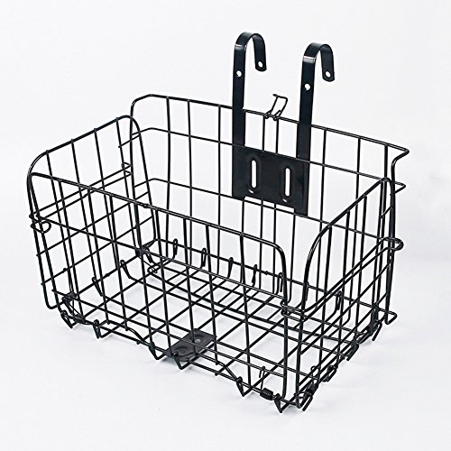 EDTara Big Cuboid Folding Steel Wire Front Basket Bike Accessories Mountain Bike Commuter Car Black by EDTara