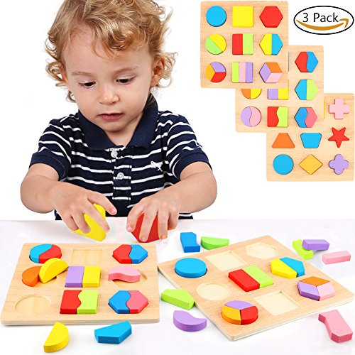 Lewo Wooden Geometric Chunky Shape Puzzles Sorting Game Early Development Educational Toys Pack of 3 by Lewo