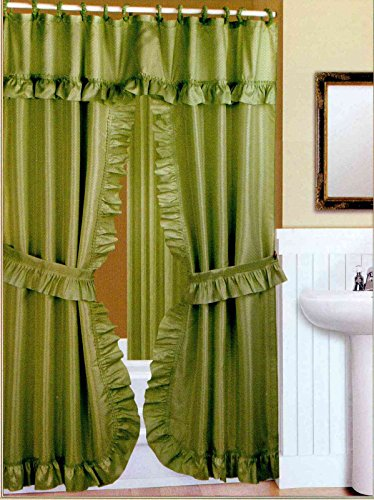 Valance Shower Curtain (Double Swag Fabric Shower Curtain with Vinyl Liner and Shower Rings (Peridot Green))