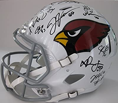 2015-2016 Arizona Cardinals, Team, Signed, Autographed, Riddell Speed Full Size Football Helmet, a COA with the Proof Photos of the Cardinals Players Signing the Helmet Will Be Included..