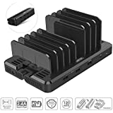 USB C Charging Stations, UNITEK EZPlug 8-Port 120W TRANSFORMABLE USB Wall Charger & Adjustable Dividers Charging Station, QC3.0 + PD Compatible MacBook 2015 Later, iPad Pro, iPhone, Nintendo Switch