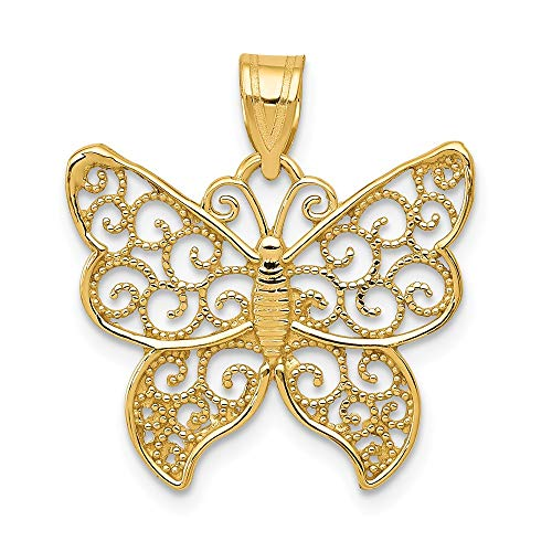 14k Yellow Gold Filigree Butterfly Pendant Charm Necklace Animal Fine Jewelry Gifts For Women For Her