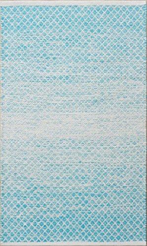 Chandra Rugs Tanya Rectangular Handwoven Flatweave Cotton Rug - Blue/White - 5' x 7'6