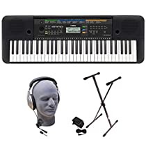 Yamaha PSRE253 61-Key Portable Keyboard Bundle with Headphones, Power Supply, andStand