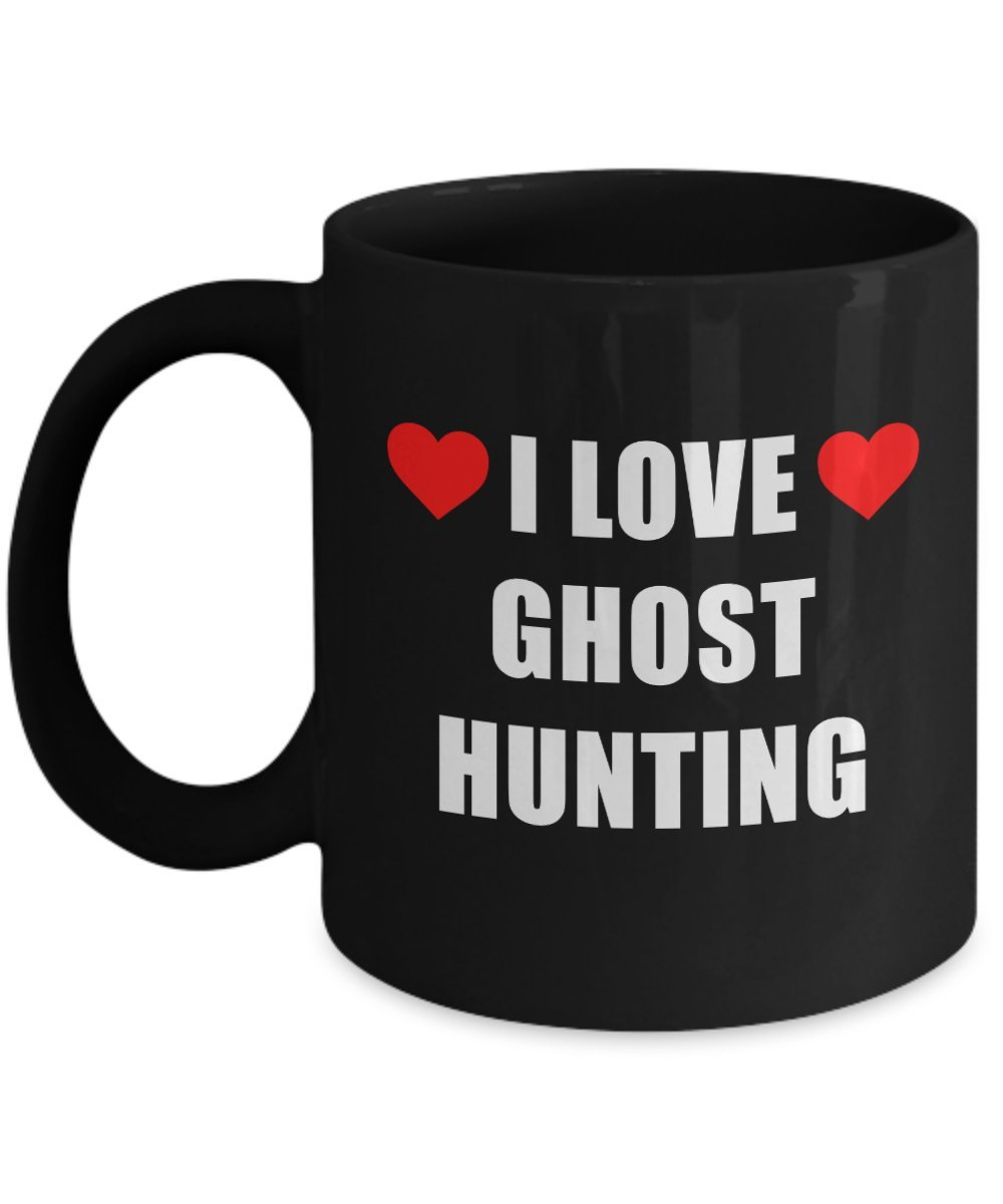 I Love Ghost Hunting Mug Acrylic Coffee Holder Black 11oz - Gift for Hobbyist, Enthusiast Paranormal Activity Supernatural Seeker