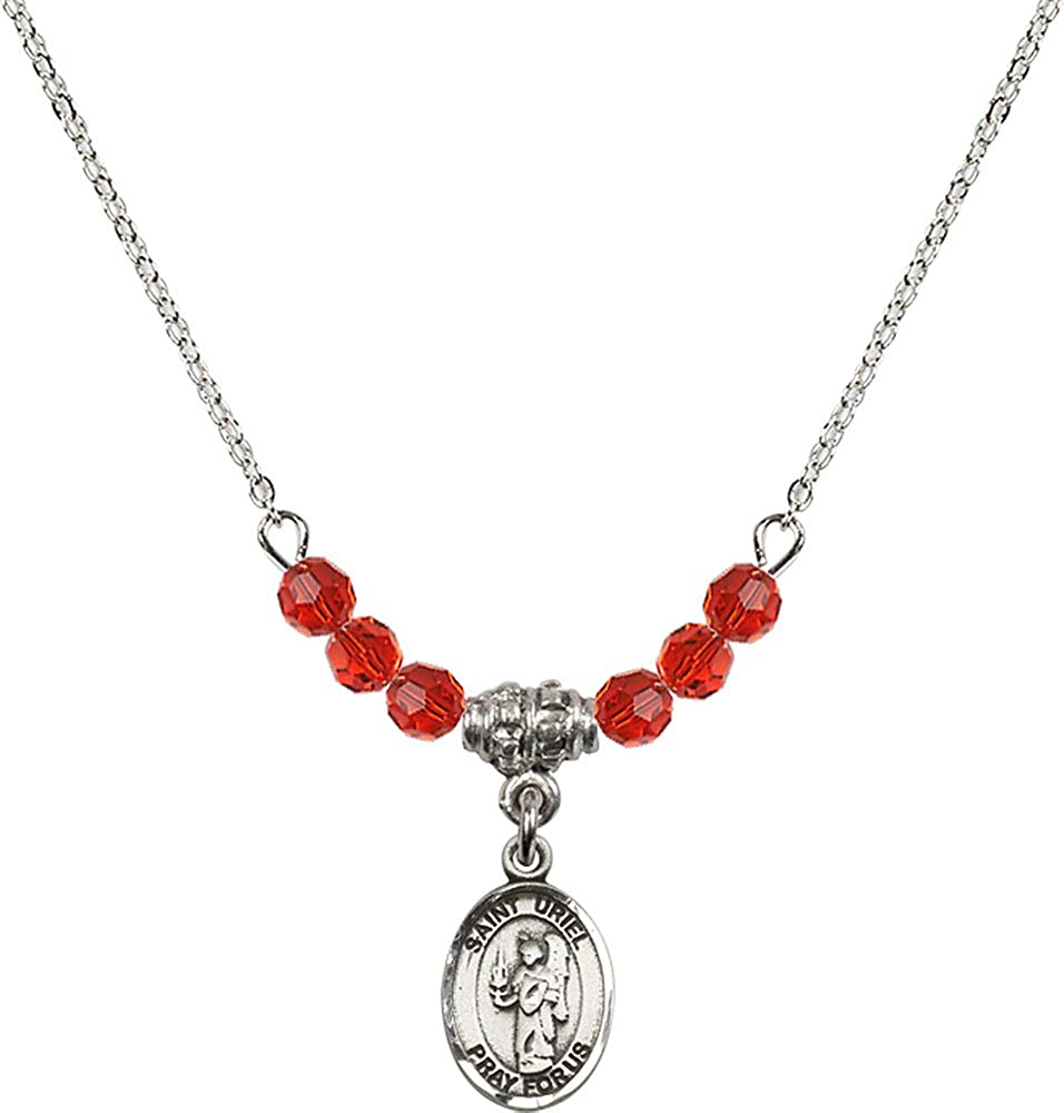 18-Inch Rhodium Plated Necklace with 4mm Ruby Birthstone Beads and Sterling Silver Saint Uriel the Archangel Charm.