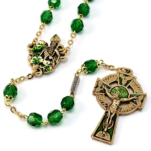 St. Patrick Rosary in antique gold plated finish made exclusively in Italy by Ghirelli - ()