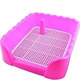 Indoor Dog Puppy Plastic Potty Training Dog Toilet with Fence and Target Pet Pee Toilet (L, Pink)