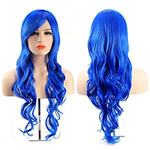 MelodySusie Cosplay Blue Curly Wig - Attractive Women Long Curly Wig with Free Wig Cap and Wig Comb (Blue)