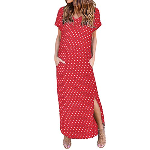 NANTE Top Casual Loose Dress Boho Short Sleeve V-Neck Dresses Dot Printed Long Maxi Beach Sundress Beachwear Skirt (XL, Red) (Best Dot Net Training Videos)