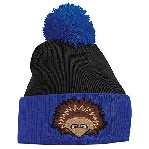 Bang Tidy Clothing Pom Pom Beanie - Hedgehog - Royal Blue and Black