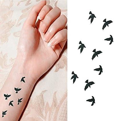Pegatinas de tatuaje temporales unisex con patrón de pájaros ...