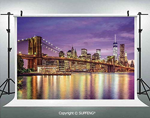 Photography Backdrops NYC Exquisite Skyline Manhattan Broadway Old Neighborhood Tourist Country Print 3D Backdrops for Photography Backdrop Photo Background Studio Prop]()