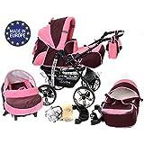 Kamil - Sistema de viaje 3 en 1, silla de paseo, carrito con capazo y silla de coche, RUEDAS ESTÁTICAS y accesorios (Sistema de viaje 3 en 1, rojo oscuro, rosado)