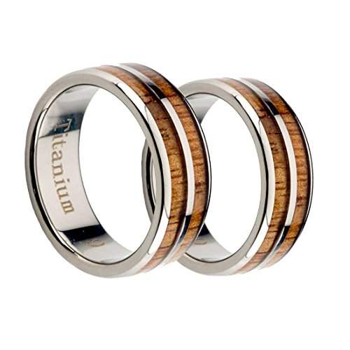 Titanium Wedding Rings set Natural Wood by Aumaris Jewelry