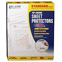 C-Line Top Loading Standard Weight Poly Sheet Protectors, Non-Glare, 8.5 x 11 Inches, 50 per Box (62038)
