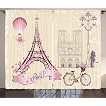 Ambesonne Kiss Curtains by, Floral Paris Symbols Landmarks Eiffel Tower Hot Air Balloon Bicycle Romantic Couple, Living Room Bedroom Window Drapes 2 Panel Set, 108 W X 84 L Inches, Ivory Pink