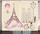 Ambesonne Kiss Curtains, Floral Paris Symbols Landmarks Eiffel Tower Hot Air Balloon Bicycle Romantic Couple, Living Room Bedroom Window Drapes 2 Panel Set, 108 W X 63 L Inches, Ivory Pink For Sale