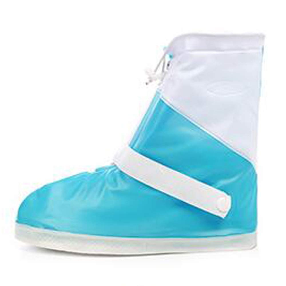 WUZHONGDIAN Shoe Cover, Waterproof Boots and Wearable Shoe Covers, Reusable Non-Slip Rain and Snow Shoe Covers Outdoor Waterproof and Dustproof Shoe Covers (Color : Blue+White, Size : M) by WUZHONGDIAN