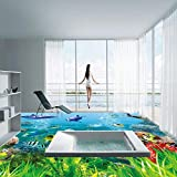 BZDHWWH Hd 3D Underwater World Dolphin Floor Painting Wear Non-Slip Bedroom Living Room Bathroom Flooring Mural,110Cm X 160Cm