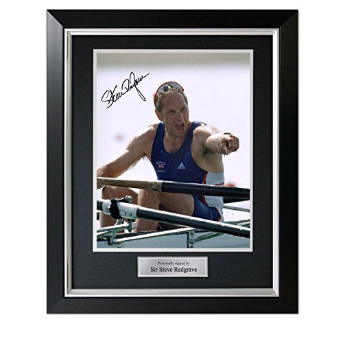Sir Steve Redgrave Signed Photo: Five Time Olympic Champion. In Deluxe Black Frame With Silver Inlay