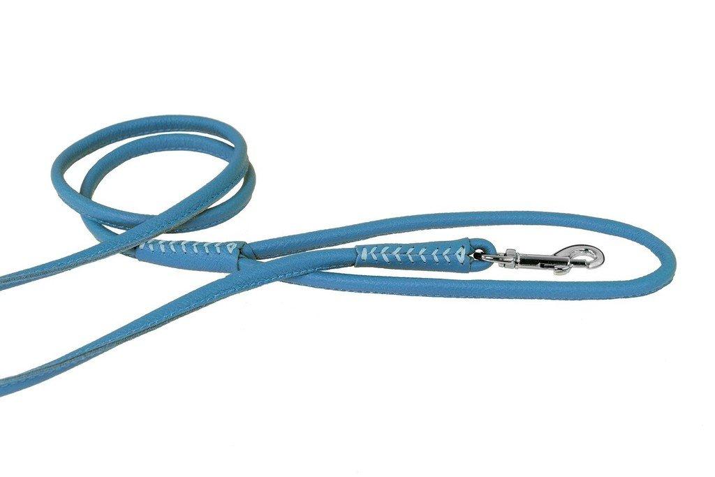 bluee 3-Feet x 1 4-Inch bluee 3-Feet x 1 4-Inch Dogline Soft Padded Rolled Round Leather Dog Leash Lead, bluee, 3-Feet x 1 4-Inch