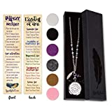 SPUNKYsoul Dreamcatcher Essential Oil & Aromatherapy Diffuser Long Necklace Dazzling Crystal Beaded Stainless Steel Chain, Feather and Amethyst Bead Charms   Use with Young Living & doTERRA Oils