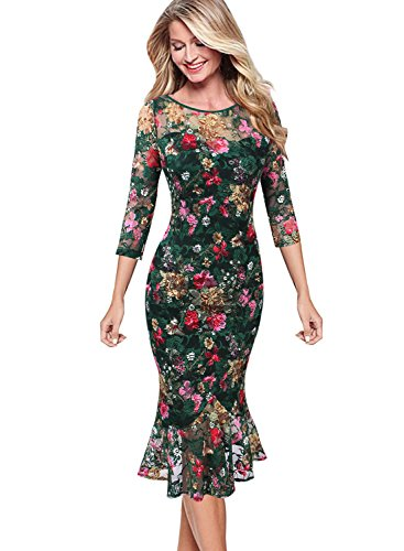 (VFSHOW Womens Elegant Floral Lace Cocktail Party Mermaid Midi Mid-Calf Dress 1863 GRN L)