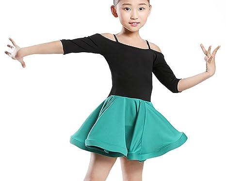 a0b0aaebb945 Children's dance clothes Ballet practice clothes Latin dress Cha Cha skirts  Tango dress green 120